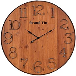 NIKKY HOME Rustic Vintage Wall Clock, 24, Brown