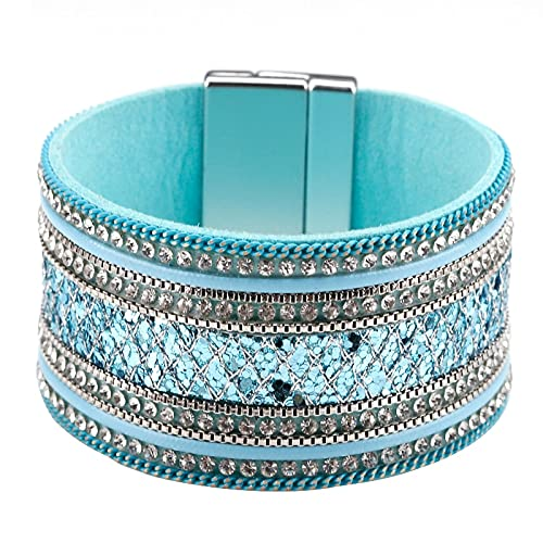 TTNM Amorcome Multitype Leather Cuff Bracelet Magnetic Multi Strand Wrap Bracelet Bangles Bohemian Jewelry Gifts for Women Girls (Metal Color: E190066P-002)