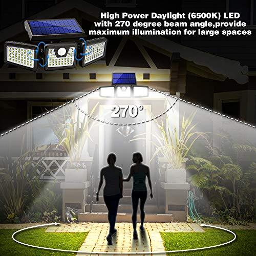 Solar Lights Outdoor, 2 Pack AmeriTop 128 LED 800LM Wireless LED Solar Motion Sensor Lights; 3 Adjustable Heads, 270°Wide Angle Illumination, IP65 Waterproof, Security LED Flood Light(Daylight)