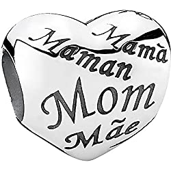 Pandora Damen-Charm 925 Sterling Silber Herz mit Schriftzug Mom in verschied. Sprachen 791112