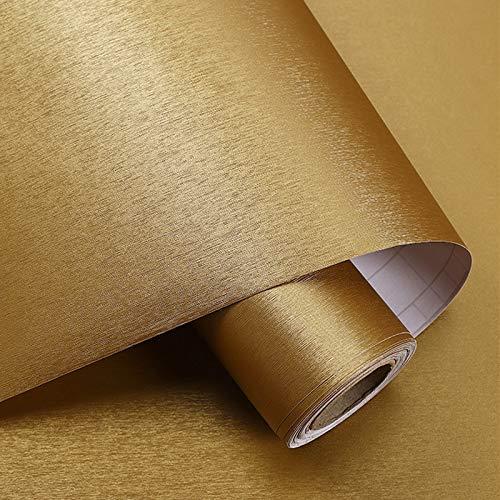 PROHOUS 60 * 500CM 0,3mm Verdickte Dekorfolie Gebürstet Kühlschrank Folie Verdickte Dekorfolie Selbstklebende Klebefolie für Möbel Geschirrspüler Möbelfolie Golden Küchenfolie, Wasserdicht