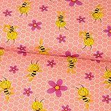 Baumwolljersey Lizenzstoff BIENE MAJA Waben und Blumen rosa