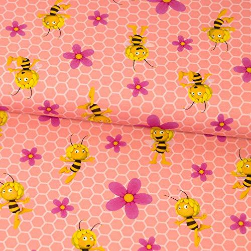 Baumwolljersey Lizenzstoff BIENE MAJA Waben und Blumen rosa Stretchstoff Modestoffe - Preis gilt für 0,5 Meter