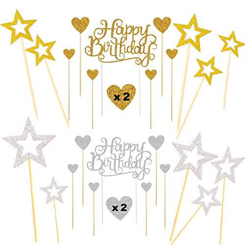 Sweieoni 38 Piezas Decoración para Tartas de Cumpleaños, Happy Birthday Cake Topper, para Cumpleaños, Decoración de la Torta del Banquete de Boda, Amor Corazón y Pentagrama (Oro y plata)