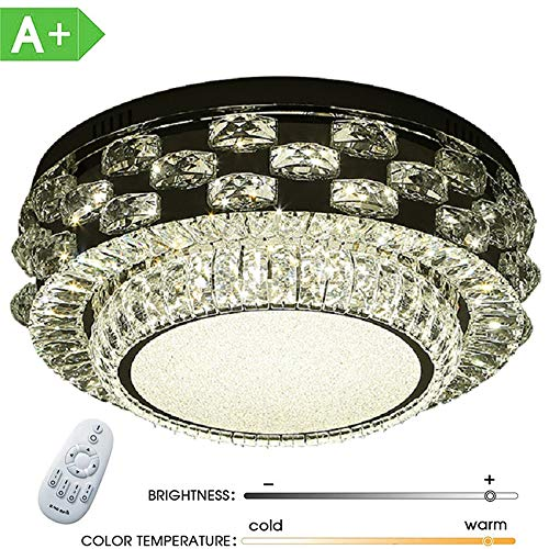 ZDHG LED plafondlamp kristal 72W dimbaar, ronde plafondlamp creatieve spaarlamp voor woonkamer, slaapkamer, eetkamer [energieklasse A]