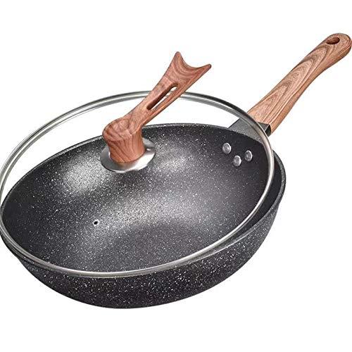 Cocina de hierro fundido Saute Wok Grill sin humo Sin recubrimiento Sin palmada Fritorado sin palmado Die-Casting Vacuum Salud Pot wok (Color : Upgraded cover, Sheet Size : 32cm)