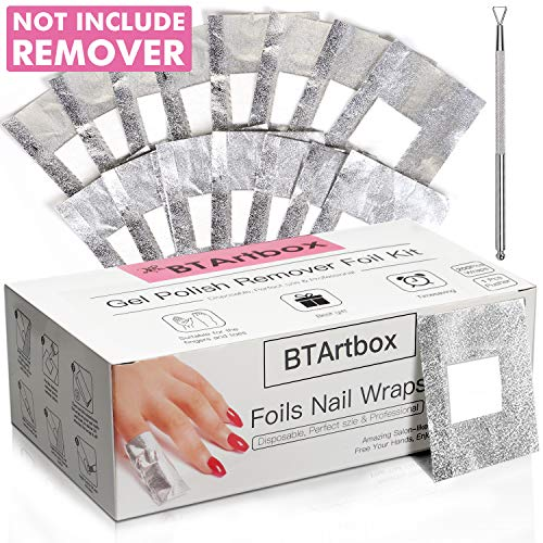 Gel Nail Polish Remover - Gel Polish Remover Wraps BTArtbox Nail Foil Wraps 200Pcs Soak Off Gel Remover with 1 Pcs Cuticle Pusher for Removing Nail Polish at Home