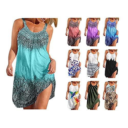 Ainiyo Sommerkleid Damen Kurzarm Sexy V-Ausschnitt Strandkleider Freizeitkleider Boho Retro Schlinge ärmellos Kleider