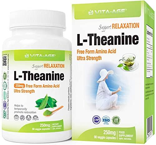 VITA-AGE L-Theanine Lテアニン 超強250mg配合 90日分(1日1粒/90粒入) 【海外直送品】