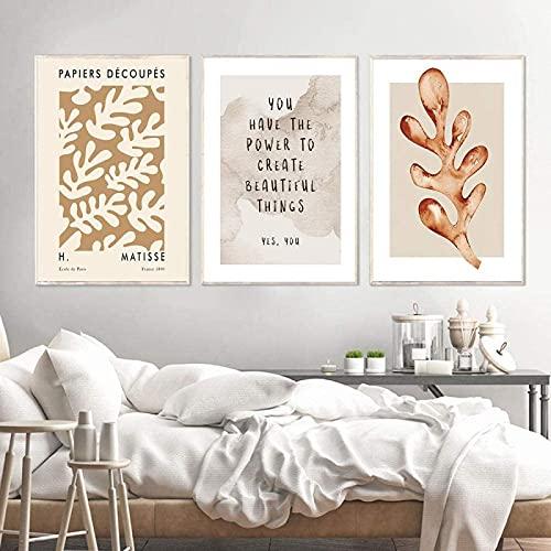 YHJK Cuadro de Lienzo Póster de Matisse Moda Arte de la Pared Letra Plantas Coloridas Hojas Marrones Impresiones Sala de Estar Imagen de decoración Moderna3x50x70cm sin Marco