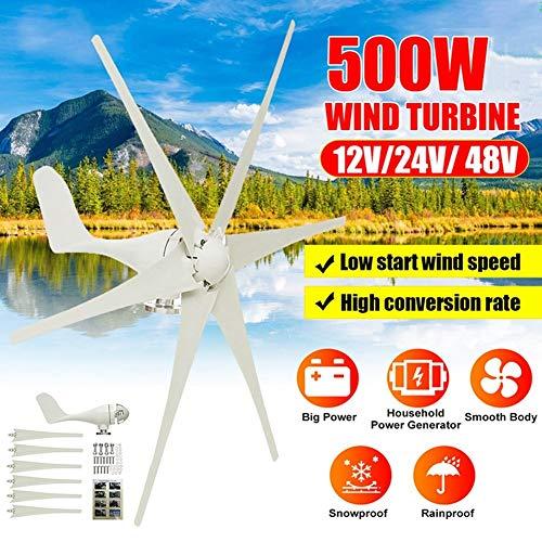 2020 500W 12V / 24V / 48V 6 Nylon In Fibra Di Pala Eolica Generatore Di Turbine Orizzontale Potenza Mulino A Vento Energia Turbine Carica Misura For La Casa Hot Wind Turbine Generator ( Size : 12V )