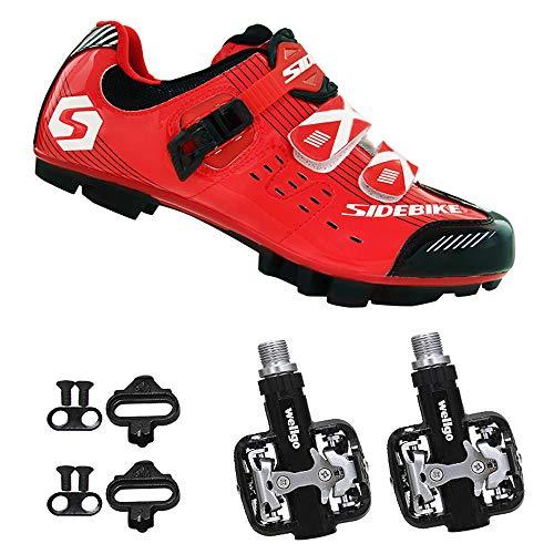 SIDEBIKE Zapatillas de Ciclismo con Pedales y Calas, Zapatos de Bicicleta de Montaña para Adultos, Zapatos de Ciclismo con Plantilla de Fibra de Carbono
