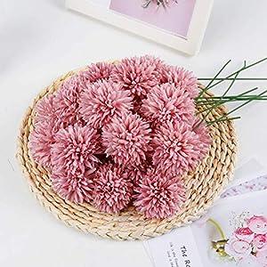 LIVILAN Artificial Flowers, 25Pcs Silk Chrysanthemum Ball Dark Pink Bouquets Hydrangea for Wedding Bridesmaid Lifelike Fake Flowers HomeDecor DIY PartyPink