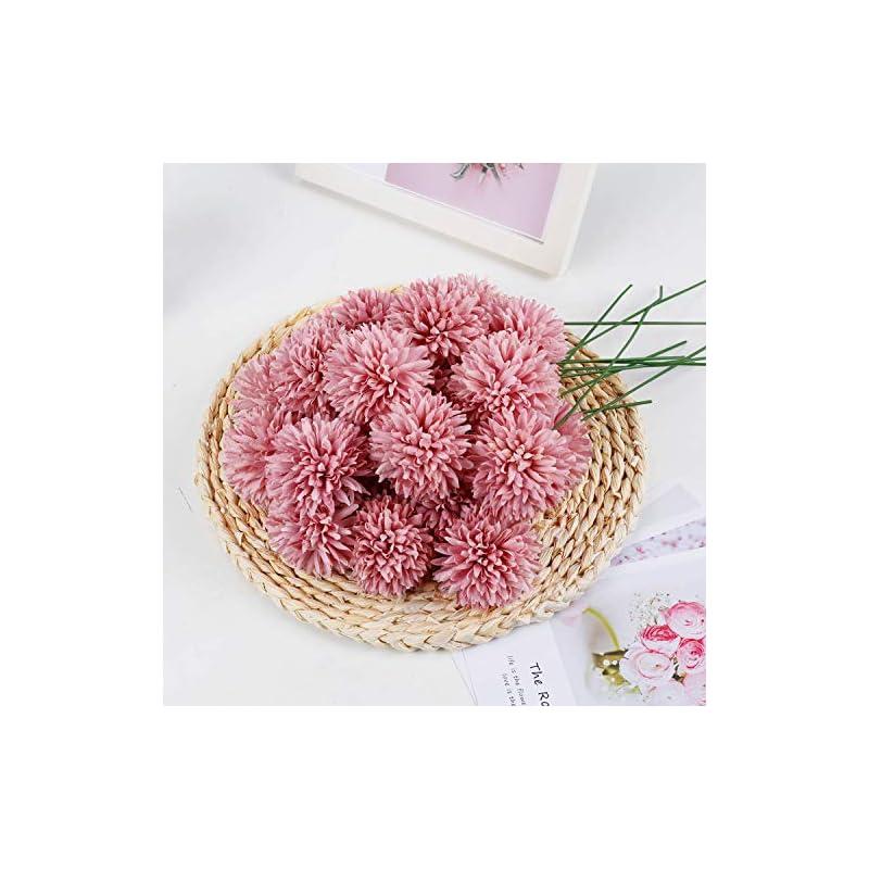 silk flower arrangements livilan artificial flowers, 25pcs silk chrysanthemum ball dark pink bouquets hydrangea for wedding bridesmaid lifelike fake flowers homedecor diy partypink