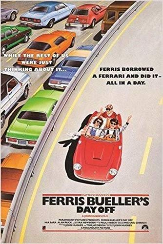 Inked and Screened Classic Movie Poster Ferris Bueller's Day Off Cars Freeway 80's Fave, 24X36