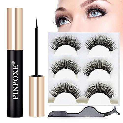 Magnetic Eyelashes, False Lashes Kit, Magnetic Eyeliner Kit, Magnetic Fake Lashes, 3 Pairs of Different Styles Reusable 3D Eyelashes Tweezers