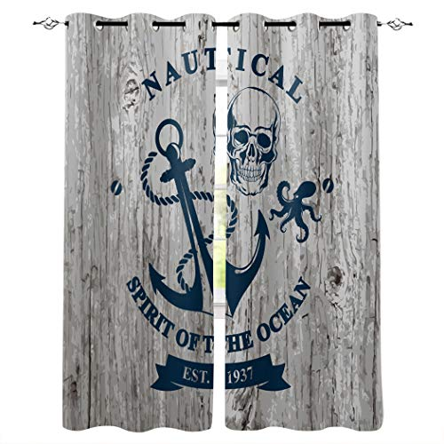 Verdunkelungsvorhänge mit silbernen Ösen oben, Spirite of the Ocean, nautischer Anker, rustikales Holz, wärmeisoliert, verdunkelnde Fenster-Vorhänge für Schlafzimmer/Schiebetür