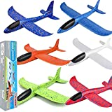 BooTaa 6 Pack Airplane Toys, 17.5' Large Throwing Foam Plane, 2 Flight Mode Foam Gliders, Birthday Gifts for Kids 3 4 5 6 7 8 9 10 11 12 Year Old Boys Kids Girls, Outdoor Yard Family Game Toys