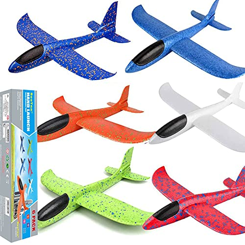 BooTaa 6 Pack Airplane Toys, 17.5' Large Throwing Foam Plane, 2 Flight Mode Foam...