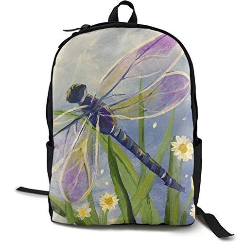 XCNGG Erwachsenen-Vollformat-Druckrucksack Lässiger Rucksack Rucksack Schultasche Lightweight Durable Backpack Daypack for School Travel Hiking, Floral Dragonfly