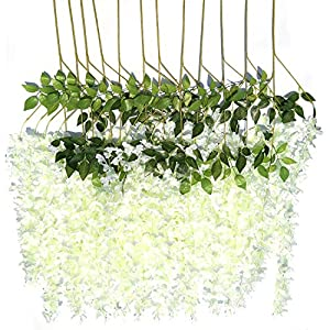 Wisteria Artificial Flowers with stem 3.6 Feet/Piece,Romantic Hanging Flower for Rustic Wedding Decorations, Elegant Home Party, and Ceremony Decor 12 Pack