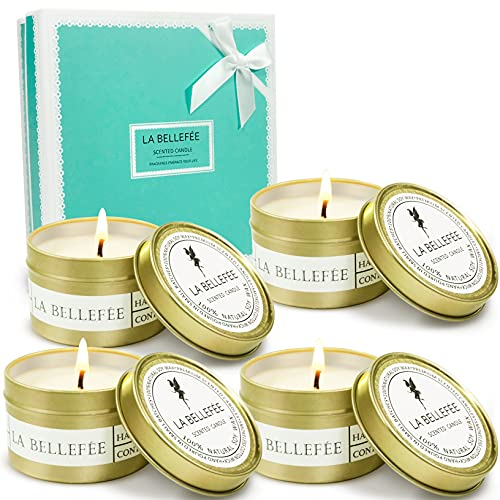 LA BELLEFÉE Scented Candles Gifts for Women, Aromatherapy Candle, Natural Soy Candles for Home, Small Candles Holiday Gift Set for Wedding, Guests, Festival, Relaxing Spa, Bath, Yoga, 4 Pack