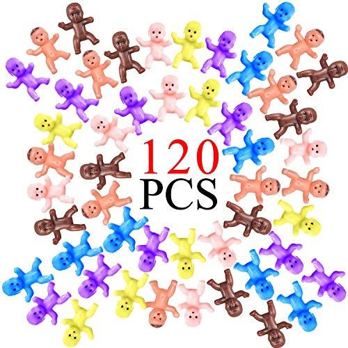 FECEDY 120pcs Colorful Mini Plastic Babies Crafting Baby Dolls for Baby Shower Baby Birthday Party Decorations Favors Baby Bathing 1