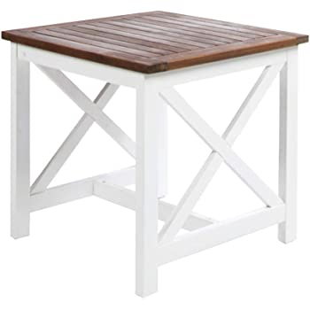 Christopher Knight Home Shammai Indoor Farmhouse Cottage Acacia Wood End Table with White Frame, Pu White / Dark Oak