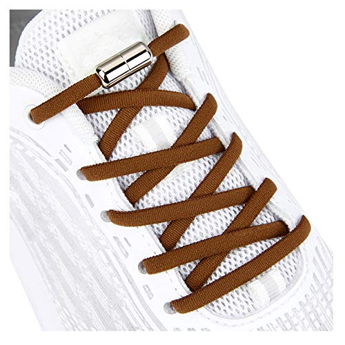 Elastic Shoe Laces for Kids and Adults Sneakers,Elastic No Tie Shoelaces Brown