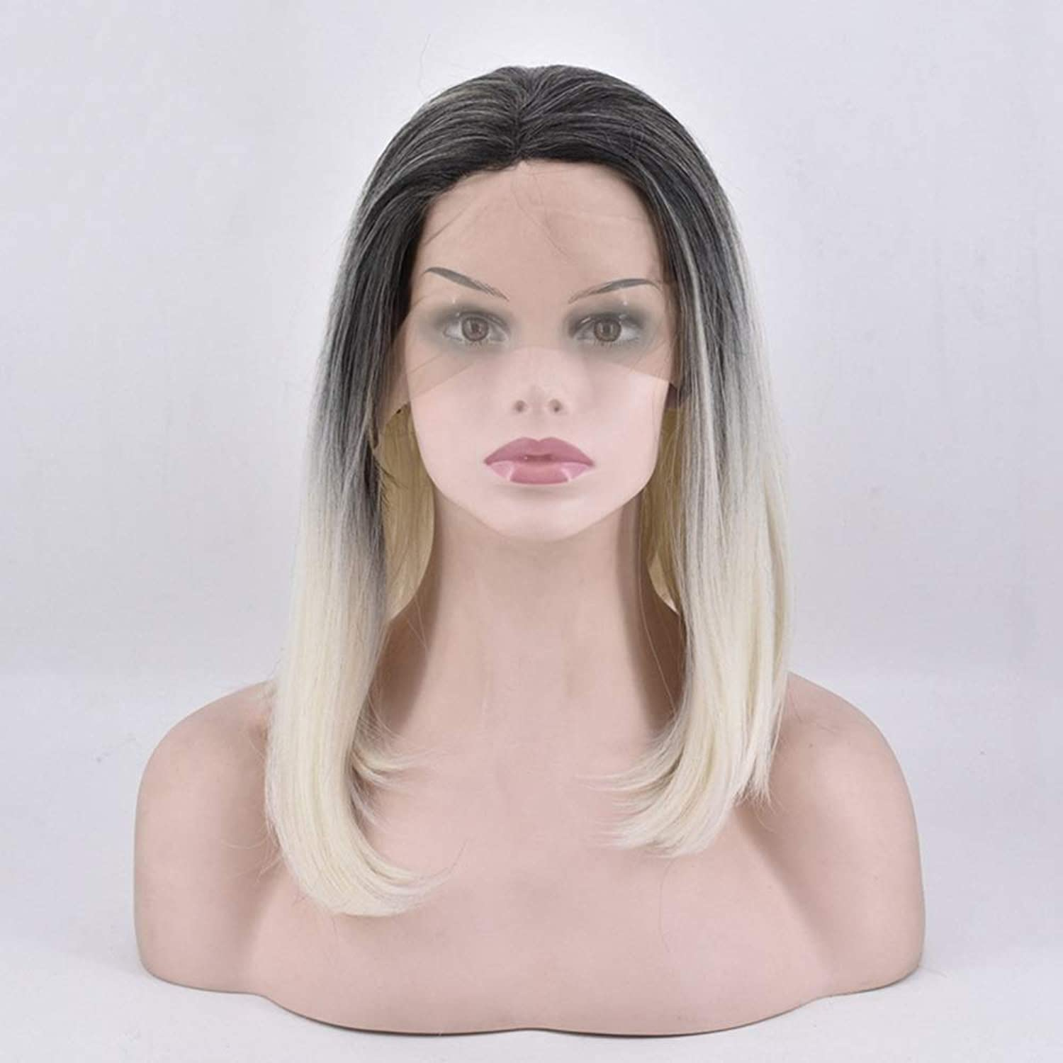 LJ Medium And Long Wave In Black Gradient gold Front Lace Semimanual Wig Headgear Breathable And Lifelike