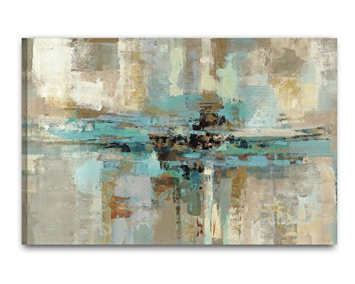 Decor Well - Large Size Abstract Grey Teal Canvas Wall Art Painting Print, Ready to Hang