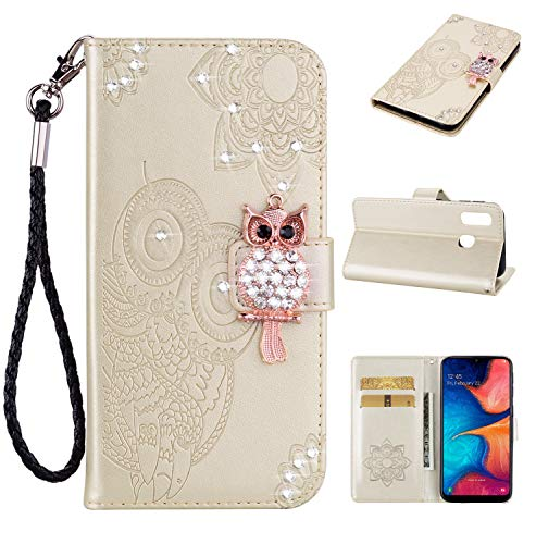 EWCover Funda de Billetera para Samsung Galaxy A20e,Funda de Cuero de Primera Calidad, Cubierta de Cuero con Lujoso Estampado Floral de Búho de Diamante