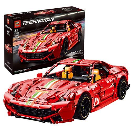 PLEX Technik Sportwagen Modell für Ferrari 488, 3571 Teile Technik Rennwagen Modellbausatz, Technik Klemmbausteine...