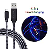 USB Type C Cable, TOHAO 6ft LED Color Changing Flowing Light UP Data Cord Fast Charging for Samsung Galaxy Note 8, S8, S8+, S9, S10, MacBook, LG V30 V20 G5 G6, Nintendo Switch and More