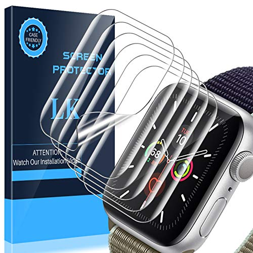 LK 6 Pack Screen Protector Compatible with Apple Watch Series 6 Series 5 Series 4 44mm, Max Coverage, Compatible with iWatch 44mm, Ultra-Thin TPU Film, apjp020