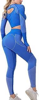 Women's Legging Workout Set Active 2 Pieces Quick-Drying High Elasticity Yoga Leggings with Hollow Long Sleeve Crewneck Pu...