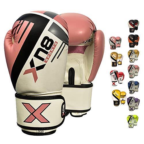 XN8 Guantoni Boxe per Allenamento -Lamina Pelle per Muay Thai, Combattimento Guanti da Sacco per Sparring, Kickboxing - Grande per Sacchi Pugilato, Boxing Gloves, Colpitori Punzonatura