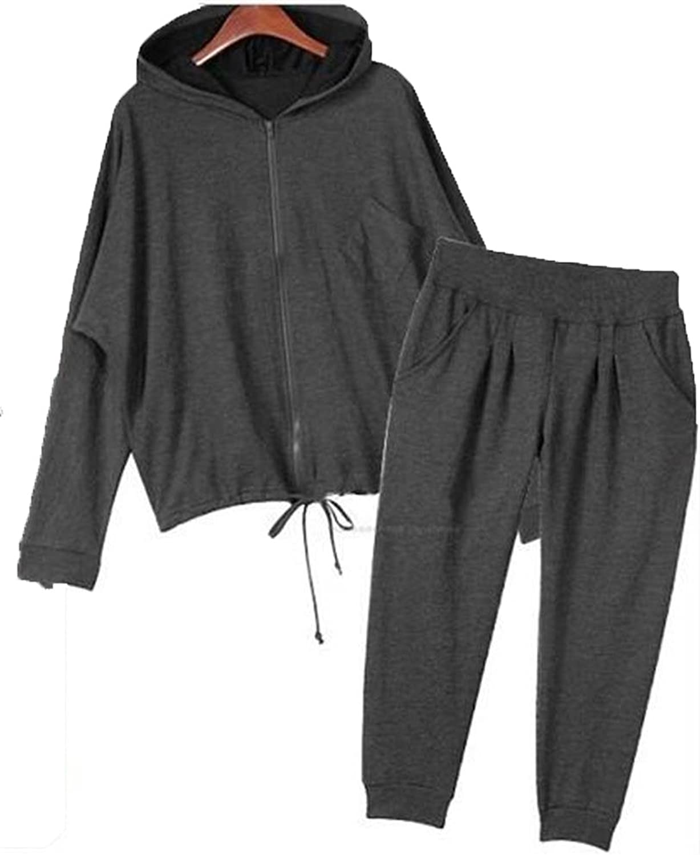 Hoodie Black Track Suit Sport Outfit Woman Jacket Pants LS003 size4x
