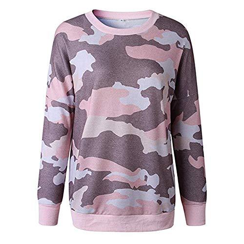 YOURUOMEI dames sweatshirt camouflage ronde leer trui top