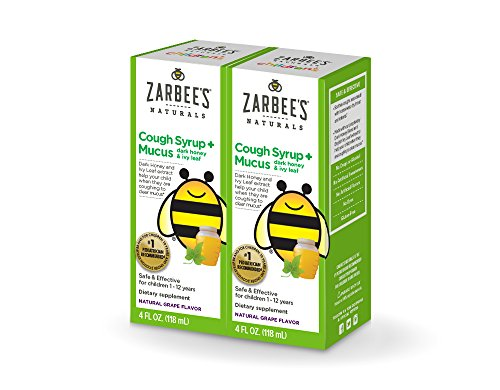 Zarbee's Naturals Children's Cough Syrup + Mucus with Dark Honey & Ivy Leaf, Natural Grape Flavor, 4 oz Bottles (Pack of 2)