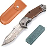 GVDV Damascus Spring Assisted Knife with G10 Handle, Folding Pocket Knife with Safety Liner-Lock for...