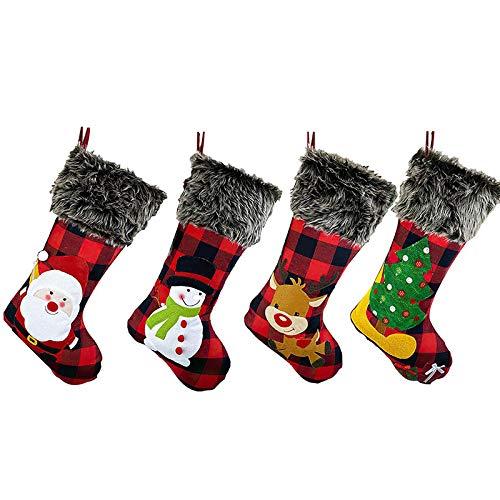 ADDFOO Christmas Stockings Plaid 4 Pack, 18 Inches Burlap Stocking Plaid Style with Santa Snowman Reindeer Tree Xmas Stockings