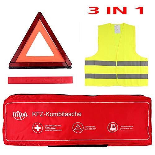 NEWGO 3 in 1 KFZ Verbandskasten Erste Hilfe Set Kombitasche mit Warnweste, Warndreieck, DIN13164 - Red