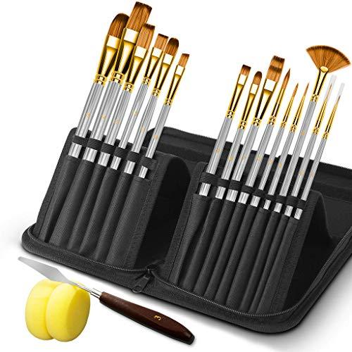 HbsiteJuego de pinceles para pintura acrílica 15 piezas con espátula y dos esponjas Pinceles de nailon profesionales para pintar con pintura acrílica al óleo (plata)