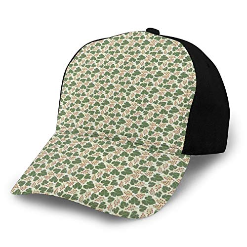 Hip Hop Sun Hat Baseball Cap,Vineyard Pattern with Bunch of Grapes and Vine Leaves Print On...