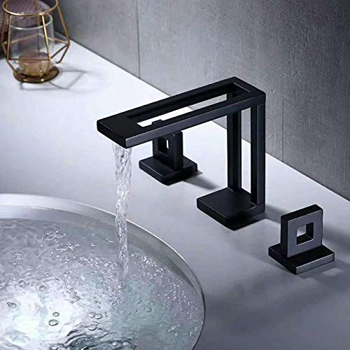 Grifo negro mate caliente y frío lavabo grifo todo cobre baño bajo encimera lavabo lavabo lavabo grifo cascada c negro