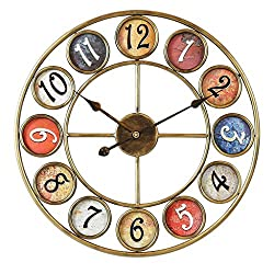 Wall Clock 24 Inch Metal Wrought Iron Metal Frame Colored Shading Dial Battery-Driven Silent Operation, No Ticking, Suitable for Living Room Bedroom Decoration