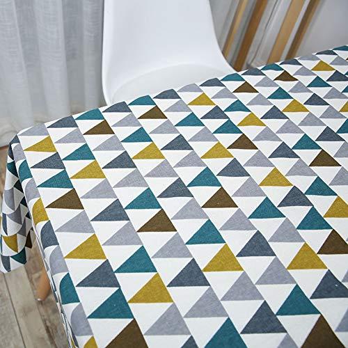 ENCOFT Mantel para Mesa Rectangular en Algodón y Lino, Mantel Cubierta de Mesa Antimanchas Patrón Triángulo Geometría Multicolor, Mantel para Comedor Cocina 140x180cm