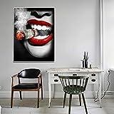 Rudxa Sexy Lippen Zigarette Dekorative Gemälde Wandbild Kunst Leinwand Malerei für Wohnzimmer Schlafzimmer-50x70cmx1 stücke kein Rahmen