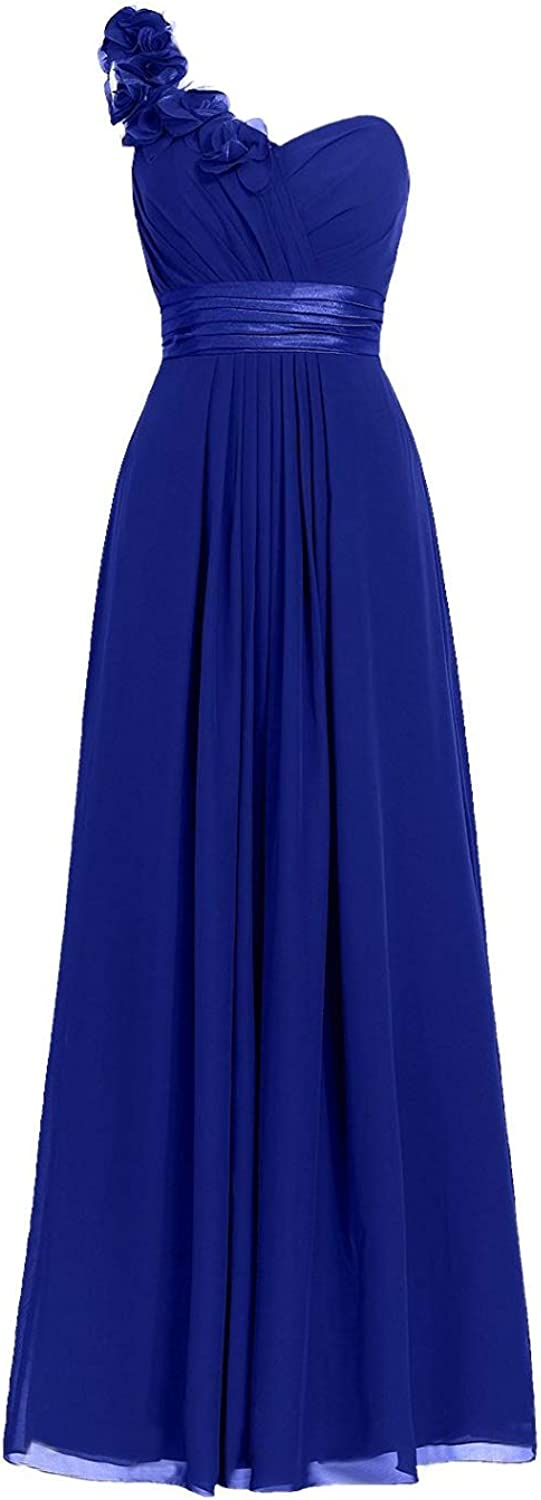 M Bridal Women's Aline Long Pleated Bridesmaid Dress With One Flower Shoulder
